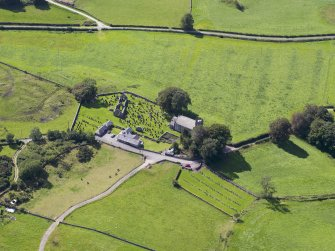 Oblique aerial view of Buittle Parish Church, taken from the ENE.