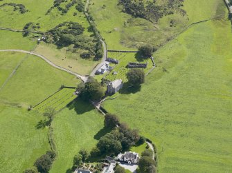 Oblique aerial view of Buittle Parish Church, taken from the N.