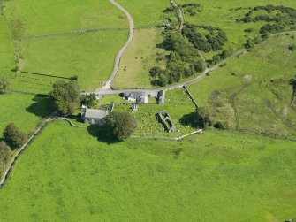 Oblique aerial view of Buittle Parish Church, taken from the WNW.