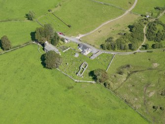 Oblique aerial view of Buittle Parish Church, taken from the WSW.