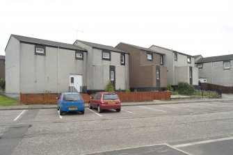 Street view showing terraced housing at 1-7 Gauze Place, Bo'ness, taken from the North-East. This photograph was taken as part of the Bo'ness Urban Survey to illustrate the character of the Hillcrest and Brewlands Area of Townscape Character.