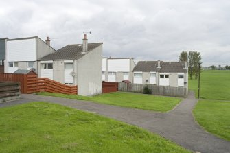 View of housing at Mingle Place and Muirepark Court, Bo'ness, taken from the South in Mingle Park. This photograph was taken as part of the Bo'ness Urban Survey to illustrate the character of the Hillcrest and Brewlands Area of Townscape Character.