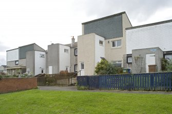 Street view showing the row of terraced housing at 30-40 Muirepark Court, Bo'ness, taken from the North-West. This photograph was taken as part of the Bo'ness Urban Survey to illustrate the character of the Hillcrest and Brewlands Area of Townscape Character.