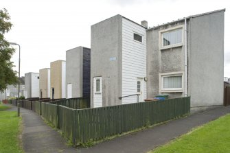 Street view showing terraced housing at 10-22 Muirepark Court, Bo'ness, taken from the North-West. This photograph was taken as part of the Bo'ness Urban Survey to illustrate the character of the Hillcrest and Brewlands Area of Townscape Character.