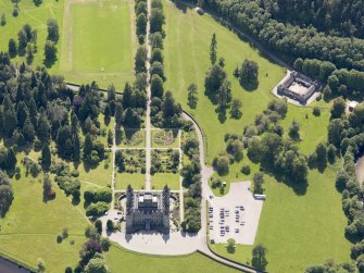Oblique aerial view of Inveraray Castle and stables, taken from the NE.