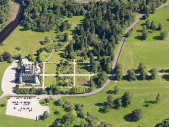 Oblique aerial view of Inveraray Castle and gardens, taken from the NW.