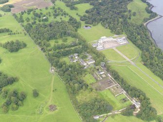 General oblique aerial view of Hopetoun House and policies, taken from the ESE.
