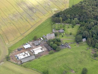 Oblique aerial view of Midhope Castle and farm, taken from the SW.