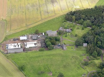 Oblique aerial view of Midhope Castle and farm, taken from the SSW.