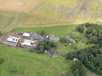 Oblique aerial view of Midhope Castle and farm, taken from the SSE.