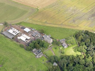 Oblique aerial view of Midhope Castle and farm, taken from the SE.