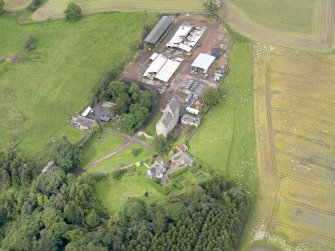 Oblique aerial view of Midhope Castle and farm, taken from the ENE.