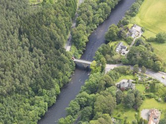 Oblique aerial view of Bridge of Teith, taken from the W.