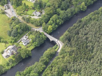Oblique aerial view of Bridge of Teith, taken from the NE.