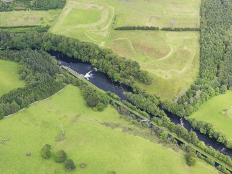 Oblique aerial view of Deanston Mills weir, taken from the S.