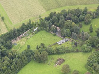 Oblique aerial view of Gargunnock House walled garden, taken from the NE.