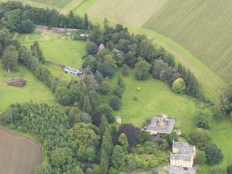 Oblique aerial view of Gargunnock House and walled garden, taken from the SE.