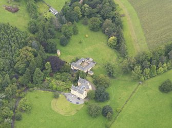 Oblique aerial view of Gargunnock House and stables, taken from the ESE.