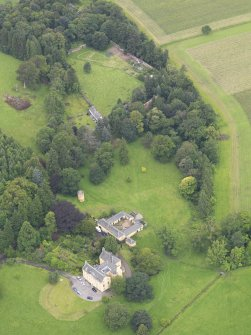 Oblique aerial view of Gargunnock House and walled garden, taken from the E.