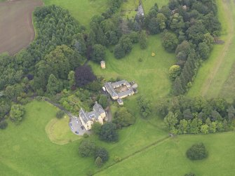 Oblique aerial view of Gargunnock House and stables, taken from the ENE.