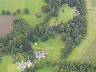 Oblique aerial view of Gargunnock House and walled garden, taken from the NE.