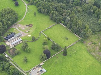 Oblique aerial view of Jardine Hall walled garden, taken from the N.