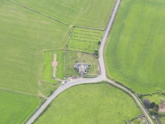 Oblique aerial view of Kirkpatrick Fleming Parish Church, taken from the NNW.