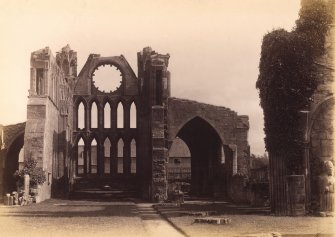 Interior view of Elgin Cathedral from W.  Titled: 'Elgin Cathedral, Archbishop John Innes.'