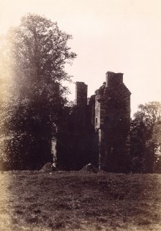 General view of Greenknowe Tower. Titled: 'Gordon Castle, Berwickshire.'