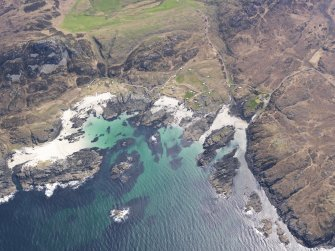 Oblique aerial view of Eilean Chaluim Cille, taken from the NNW.
