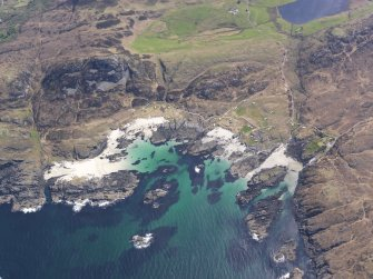Oblique aerial view of Eilean Chaluim Cille, taken from the WNW.
