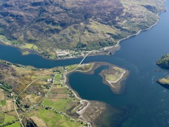 General oblique aerial view centred on Dornie Bridge and Eilean Donan Castle, taken from the WNW.