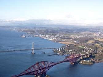 General oblique aerial view of North Queensferry with the Forth Bridges in the foreground, taken from the ESE.