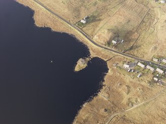 Oblique aerial view of the broch in Loch an Duna, taken from the SSE.