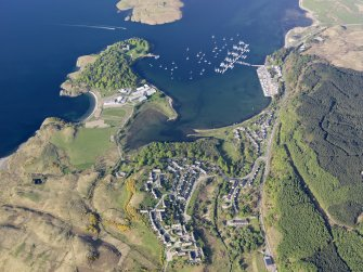 General oblique aerial view of Dunstaffnage Castle and the marina, taken from the SW.