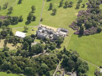 Oblique aerial view of Dundas Castle, taken from the NNW.