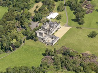 Oblique aerial view of Dundas Castle, taken from the SW.