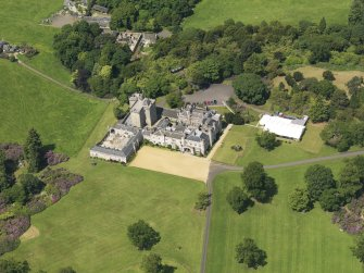 Oblique aerial view of Dundas Castle, taken from the S.