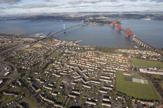 General oblique aerial view of South Queensferry, Forth Bridge and Forth Road Bridge, taken from the S.
