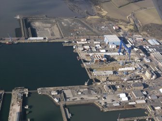 Oblique aerial view of HM Naval Base at Rosyth, taken from the ESE.