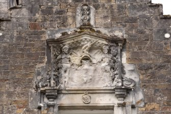 Detail of armorial panel above east entrance