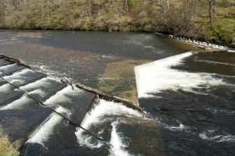 Weir and salmon ladder, view from south west
