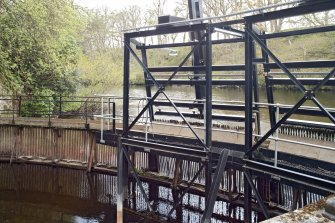 Sluice gates and grill, view from south