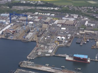 Oblique aerial view of Rosyth Dockyard, taken from the SSW.