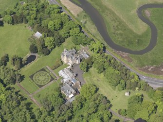 Oblique aerial view of Luffness House, taken from the SSE.