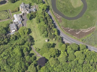 Oblique aerial view of Luffness House, taken from the SE.