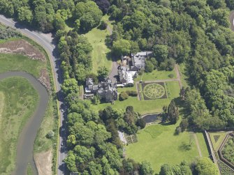 Oblique aerial view of Luffness House, taken from the W.