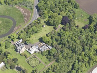 Oblique aerial view of Luffness House, taken from the S.
