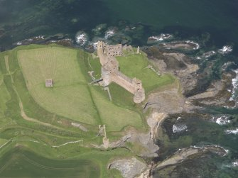 Oblique aerial view of Tantallon Castle, taken from the SSE.