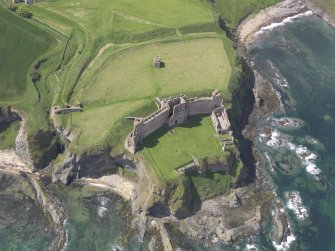 Oblique aerial view of Tantallon Castle, taken from the ENE.